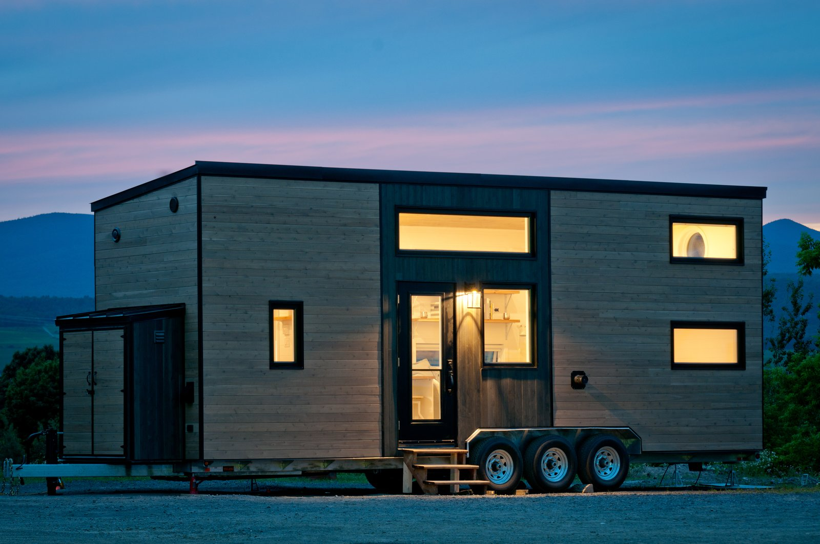 Exterior, Wood Siding Material, and Tiny Home Building Type Designed for year-round living for a mother and her teenage daughter, this 285-square-foot home has two closed bedrooms, a loft, and a living room with a sofa bed.  Photo 2 of 10 in Dwell's Top 10 Tiny Homes of 2018 from This Canadian Trio Builds Contemporary Tiny Homes Starting Under $69K