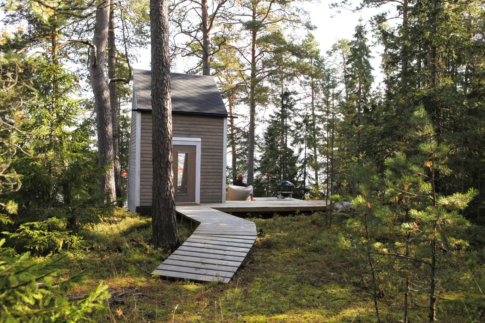 Outdoor, Trees, Side Yard, Grass, Woodland, Boulders, Wood, Small, and Shrubs While Falck built most of the tiny home himself, he hired a local carpenter to build the window frame and door.     Best Outdoor Photos from A Tiny Cabin Is Built in Three Weeks For Only $10.5K