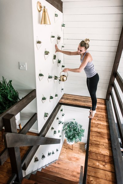 A succulent wall adds texture and greenery to the home.