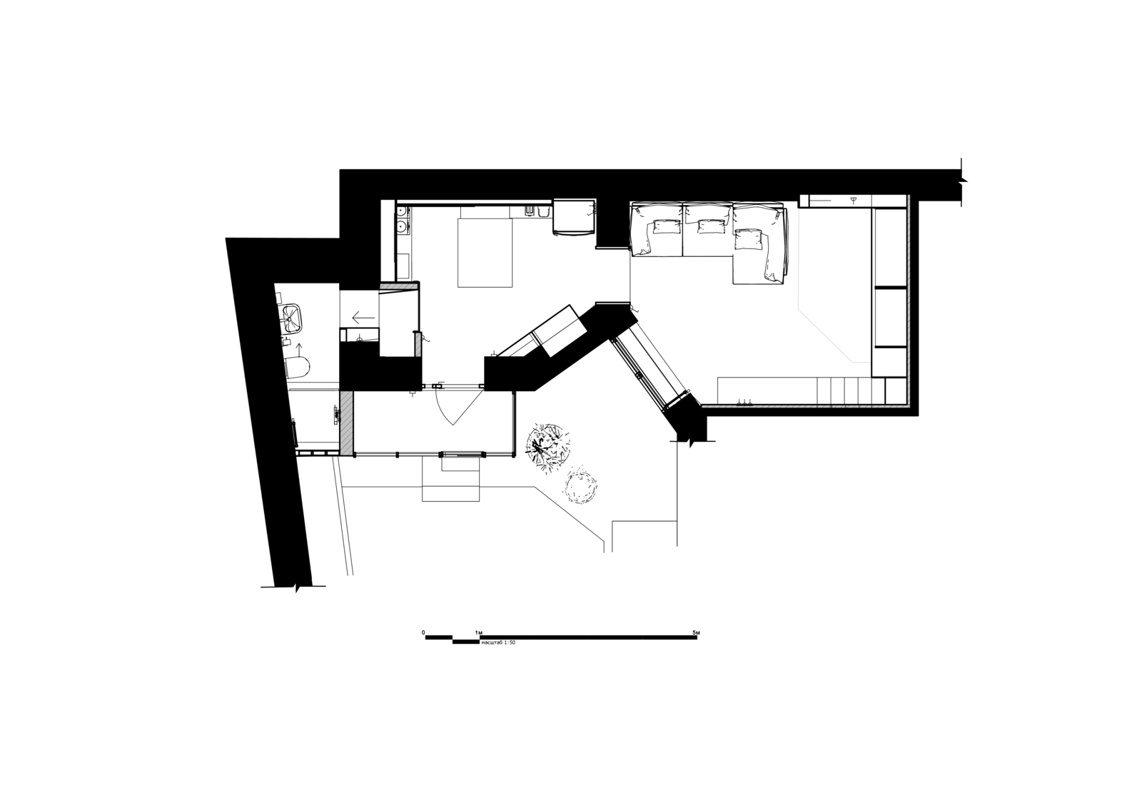 A look at the Little Flat Floor-Plan Drawing.    Photo 15 of 16 in Before & After: A Little Flat in Ukraine Gets a Modern Upgrade