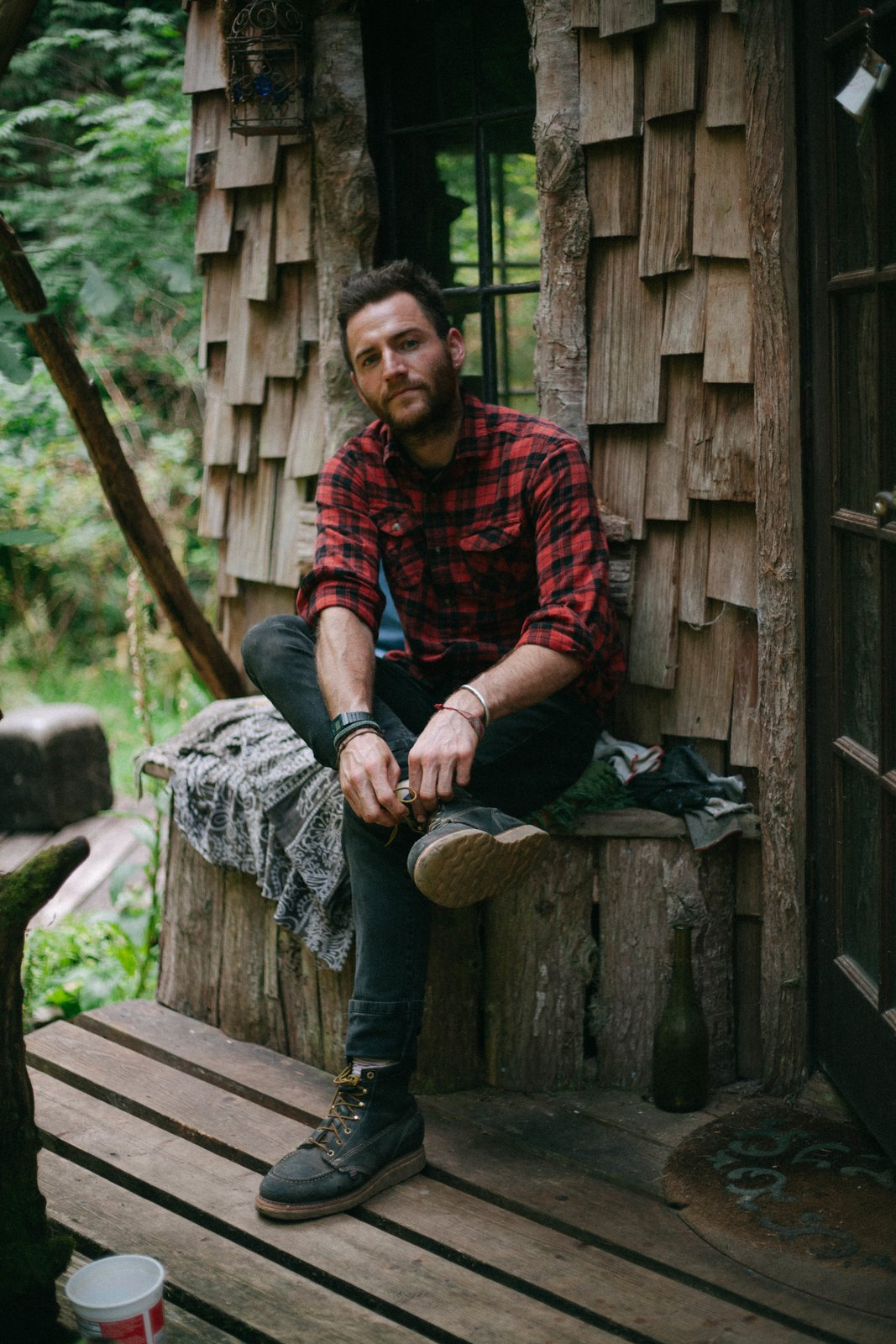 Exterior, Cabin Building Type, Wood Siding Material, Shingles Roof Material, and Tiny Home Building Type Jason Witzling first fell in love with cabin life when he was 16 years old.  Photo 1 of 21 in Jacob Witzling's Off-Grid Cabins Are Straight Out of a Fairy Tale