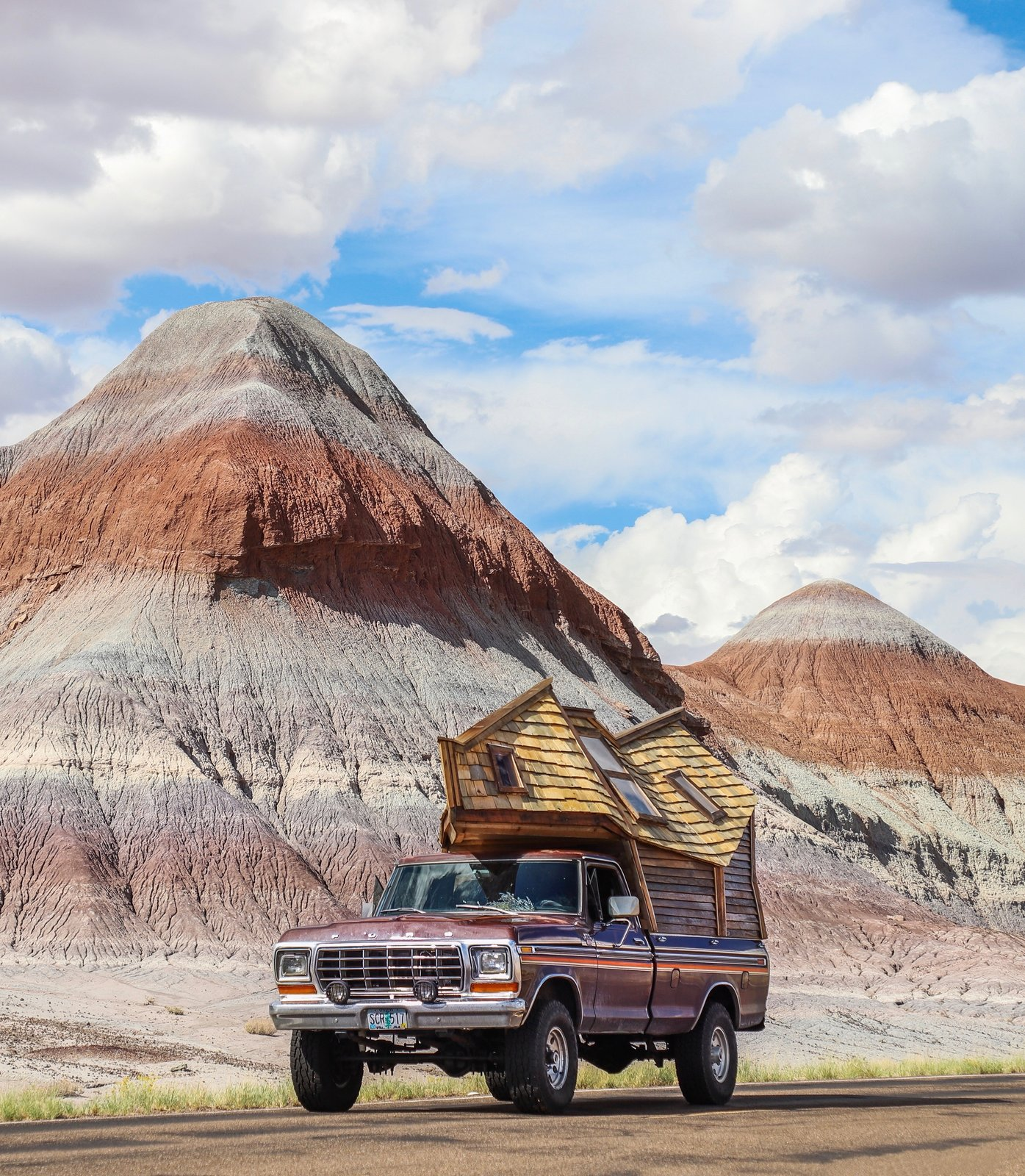 Exterior, Shingles Roof Material, Wood Siding Material, and Tiny Home Building Type Witzling's sixth creation is the Truck Cabin, which he and his partner Underwood are using to tour the U.S.  Photo 8 of 21 in Jacob Witzling's Off-Grid Cabins Are Straight Out of a Fairy Tale