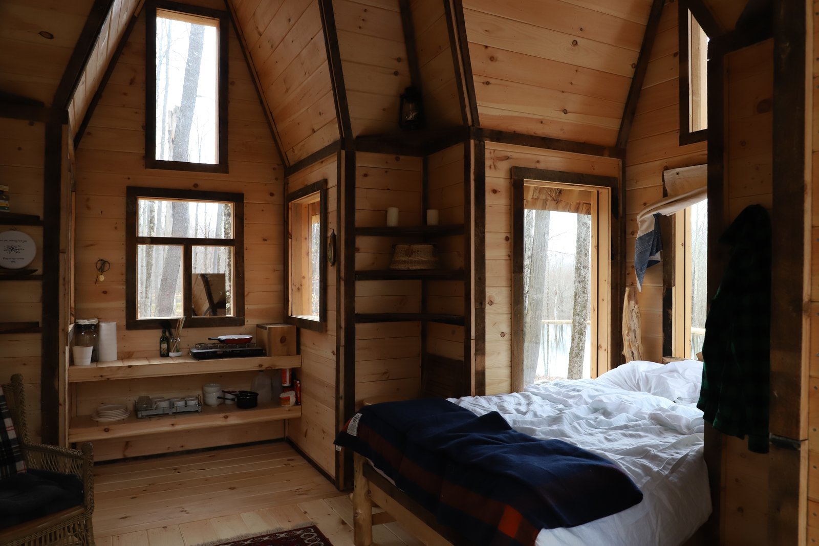 It was built with wood that was salvaged and squirreled away from deconstruction jobs.
