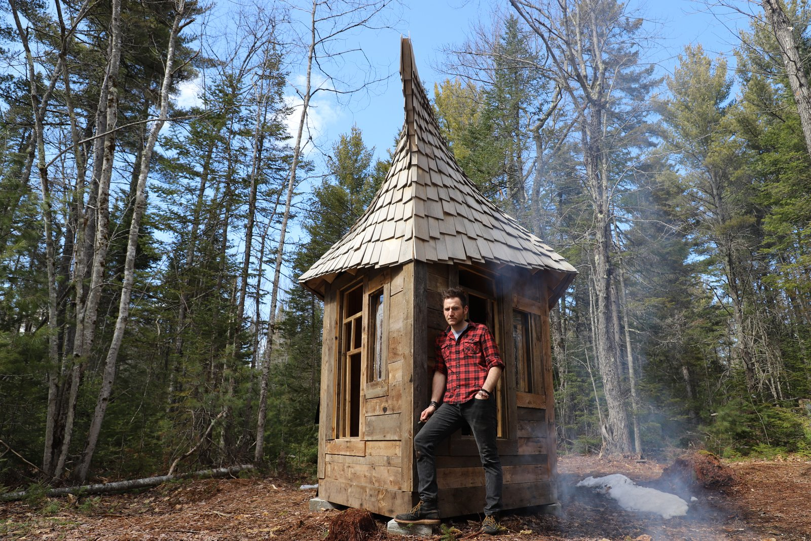Exterior, Shingles Roof Material, Wood Siding Material, Cabin Building Type, and Tiny Home Building Type Cabin designer and builder Jacob Witzling found inspiration in his architect father and childhood fairy tales.  Photo 4 of 21 in Jacob Witzling's Off-Grid Cabins Are Straight Out of a Fairy Tale