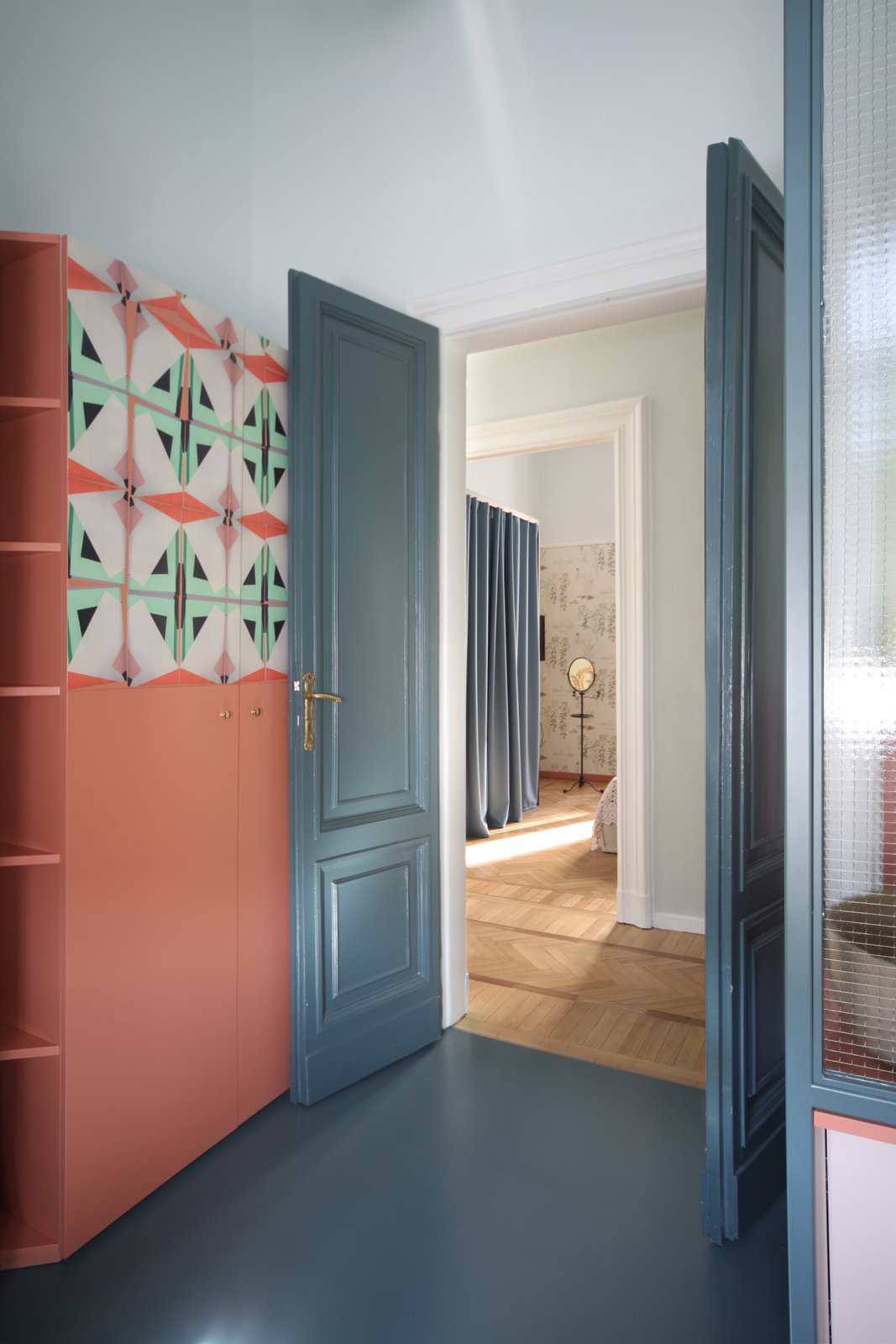 """Doors, Interior, Swing, and Wood In the bathroom there is a lacquered MDF, metal, and glass cabinet, which has also been designed by Marcante-Testa.  Best Doors Interior Swing Photos from This Delightful Abode Is a Modern Take on """"Grandma's House"""""""