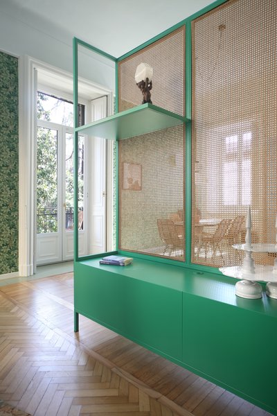 Here is a look at the lacquered MDF and Vienna straw cabinet, which was designed by Marcante-Testa and crafted by Falegnameria Fiore.