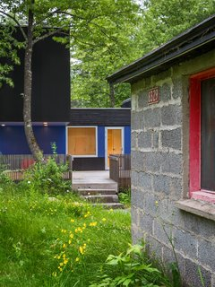 Sections of the walls along the south-facing deck are painted bright blue to complement the sauna's pinkish-red door.