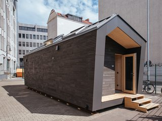 Manufactured in a factory offsite, the 370-square-foot house can comfortably fit two people.
