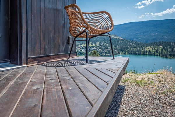 The outdoor deck can be folded and stowed away when not in use.
