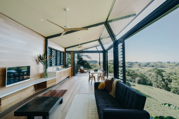 """""""The wood adds warmth and consistency to the space, balancing the tough exterior,"""" explains architect Harley Graham."""