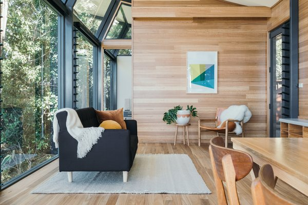 Except for the ceiling and bathroom floor, the entire interior is clad in blackbutt timber, which is also used for all the joinery.