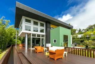 The unique residence features a 1,500-square-foot deck.