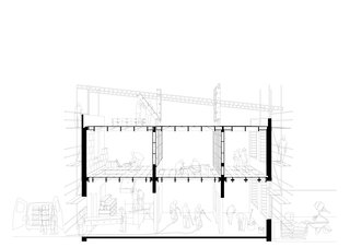 Cross sectional drawing of the installing of the plywood structure.