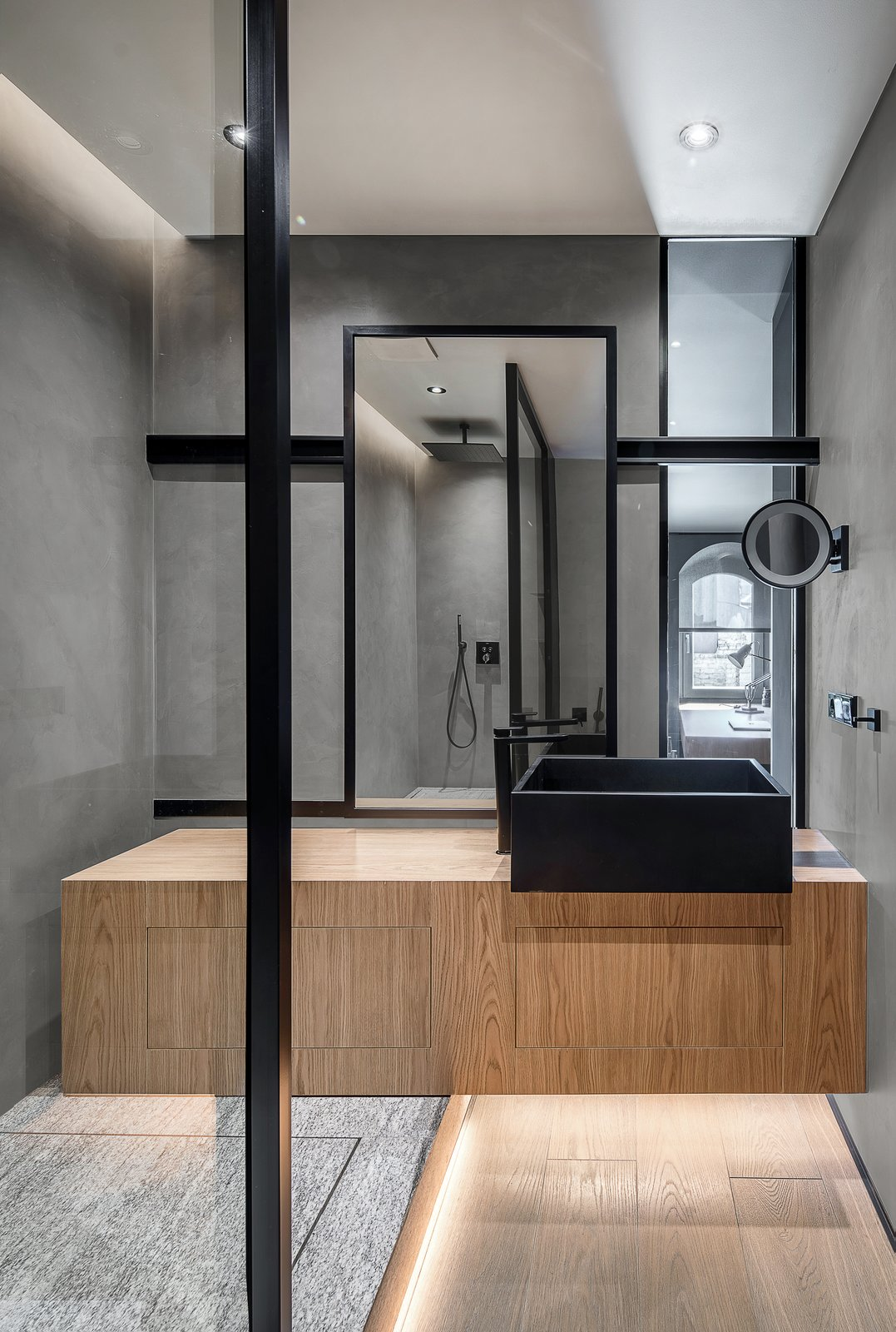 Bath, Vessel, Wood, Open, Full, Medium Hardwood, Enclosed, Recessed, and Concrete Tres bathroom accesories.  Best Bath Wood Recessed Full Open Photos from A Monochromatic Palette Unifies Old and New in This Ukrainian Bachelor Pad