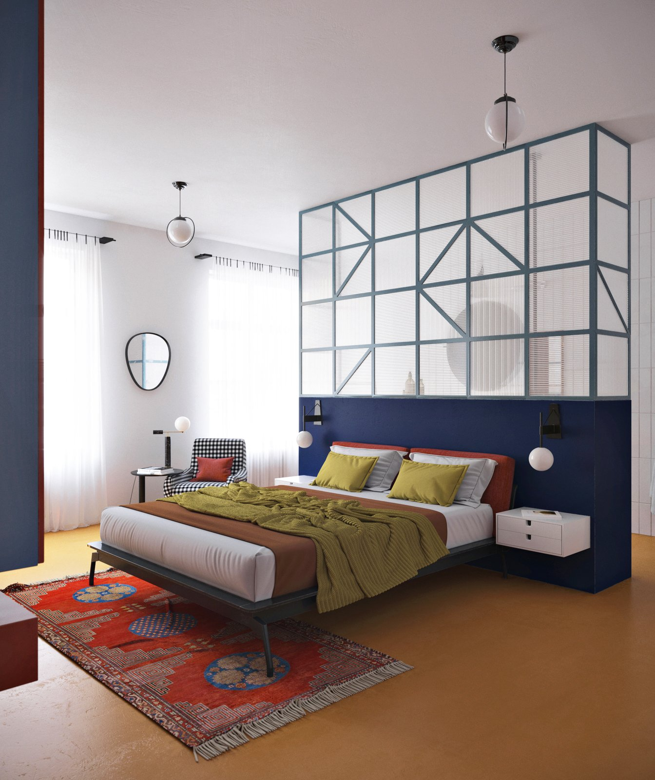 Bedroom, Rug, Wall, Night Stands, Concrete, Table, Bed, Pendant, Chair, and Lamps A look at the second zone of the home, which contains a custom-designed bed.  Best Bedroom Bed Concrete Wall Night Stands Photos from Bright Colors Meet Bold Patterns in This Compact Oslo Abode