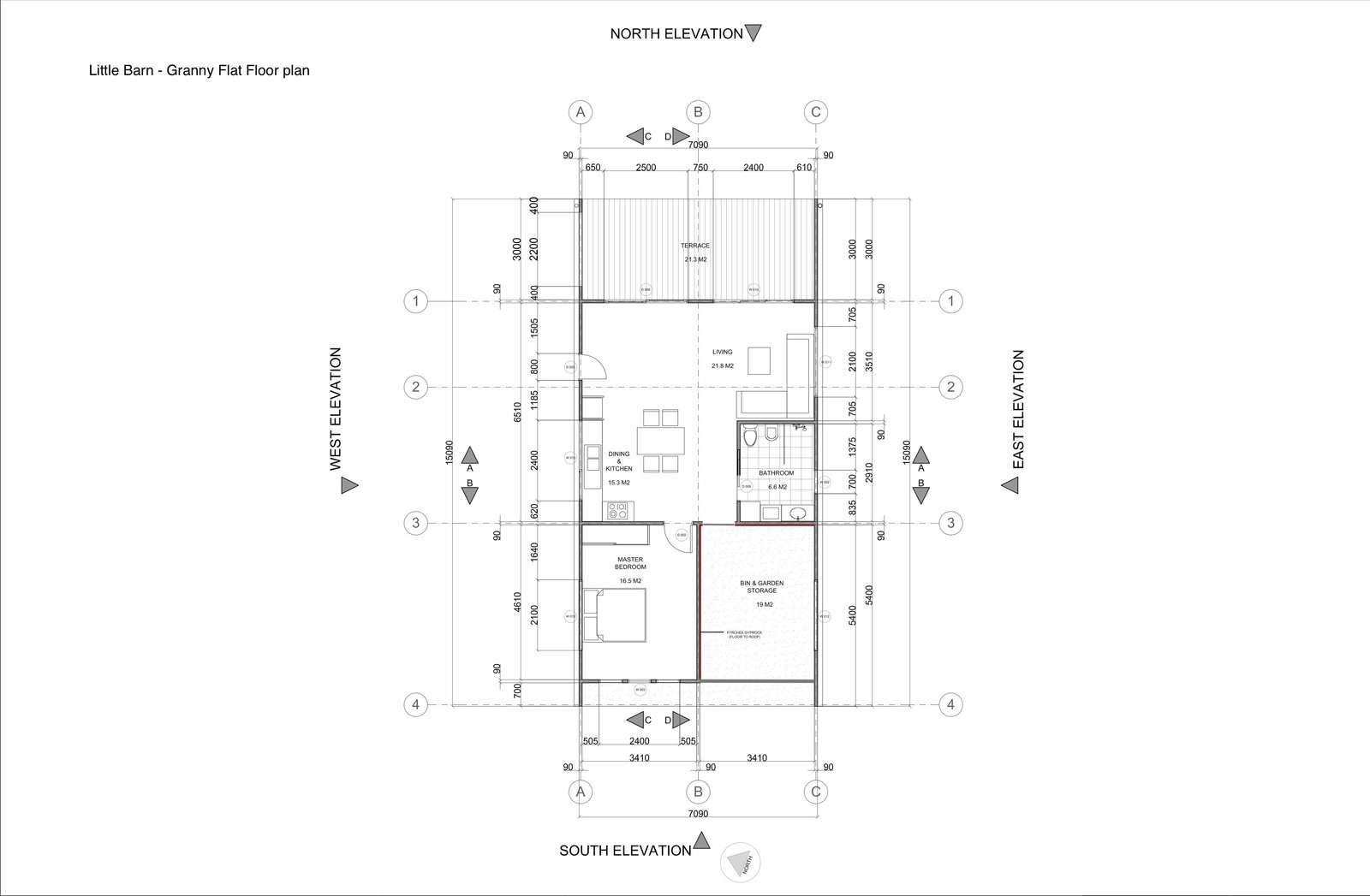 Floor plan drawing for the small house  Photo 19 of 19 in Two Barn-Like Volumes Make Up This Low-Maintenance Australian Home