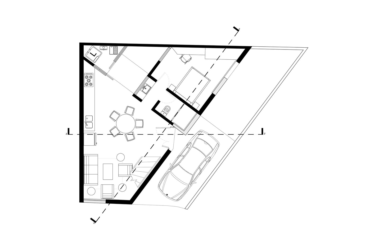 Saint Peter House first-level floor plan    Photo 12 of 14 in Extruded Red Bricks Create a Gorgeous, Geometric Mexican Home