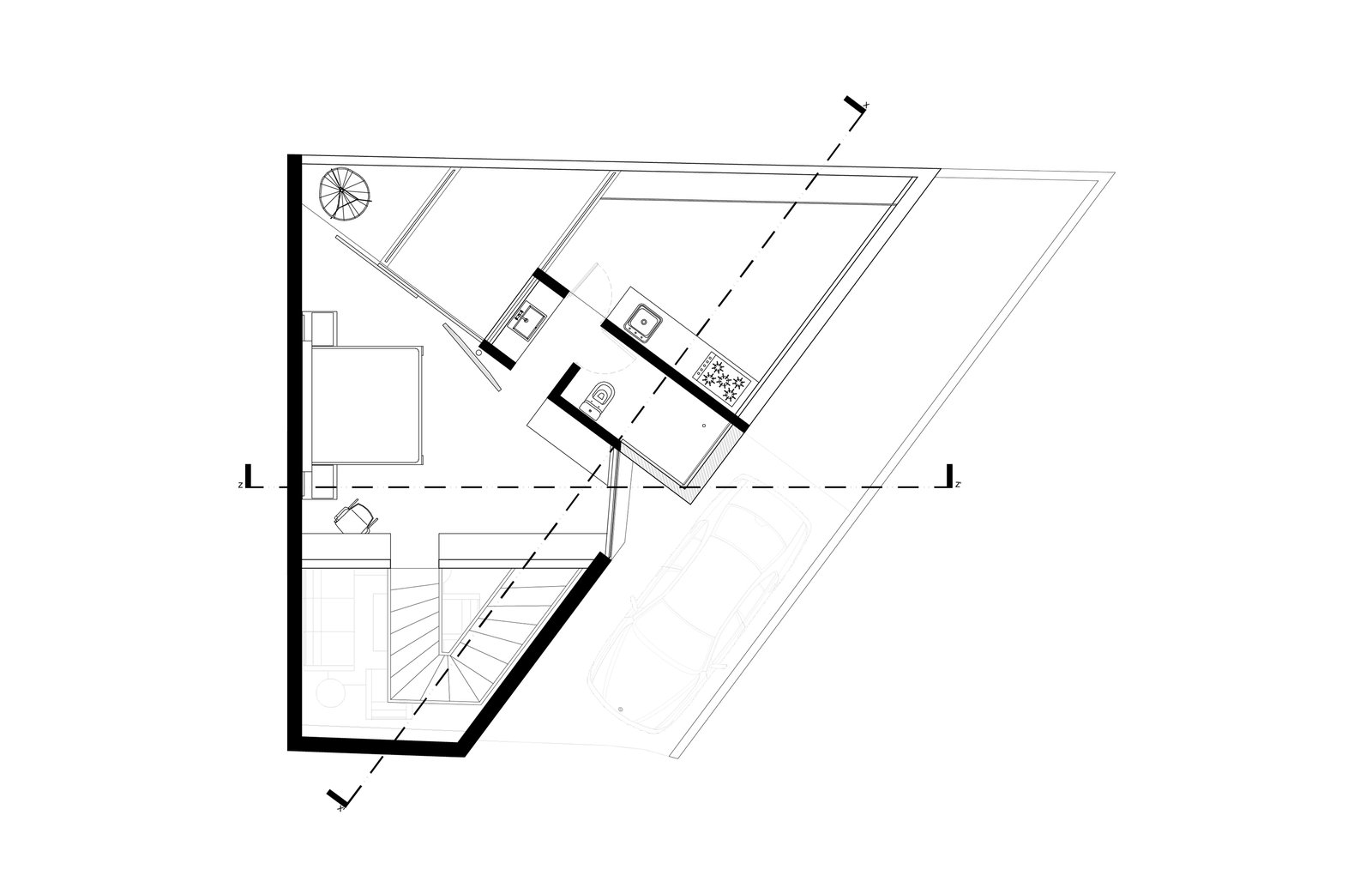 Saint Peter House second-level floor plan    Photo 13 of 14 in Extruded Red Bricks Create a Gorgeous, Geometric Mexican Home