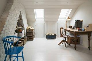 A peek at the skylit loft office.