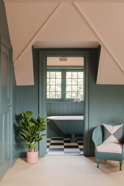 A delightfully decorated bathroom in the attic level.