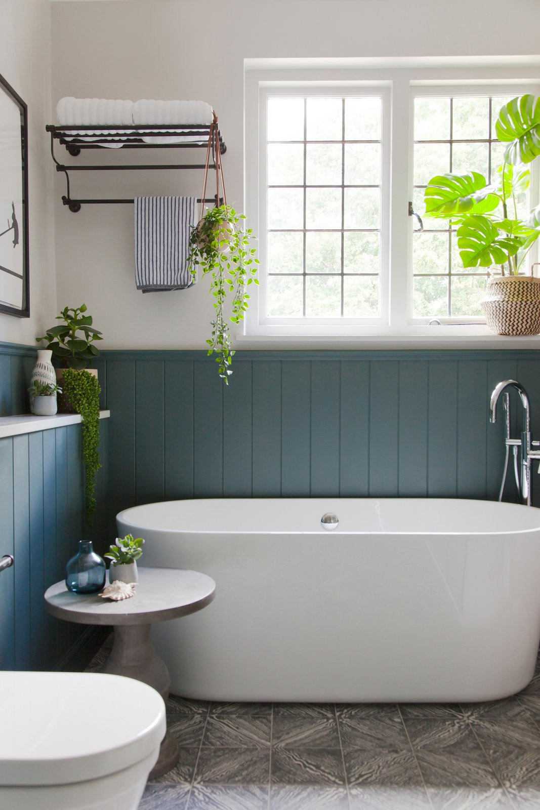 Bath Room and Freestanding Tub  The bespoke, encaustic tiles continue in the bathroom.    Photo 16 of 16 in An English Arts and Crafts Home Becomes Delightfully Modernized