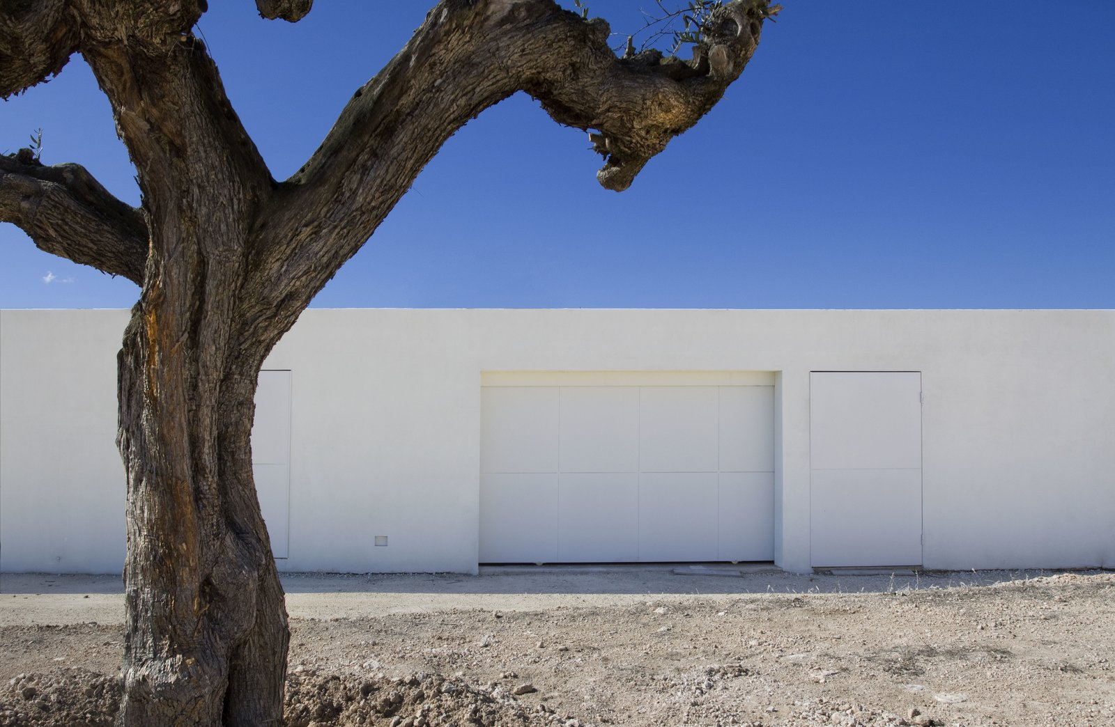 Exterior, Flat RoofLine, and House Building Type An discreet, white garage door.  Photo 4 of 11 in A Minimalist Mediterranean Home Rises in Rural Spain