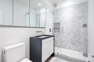 The bathroom on the second level.
