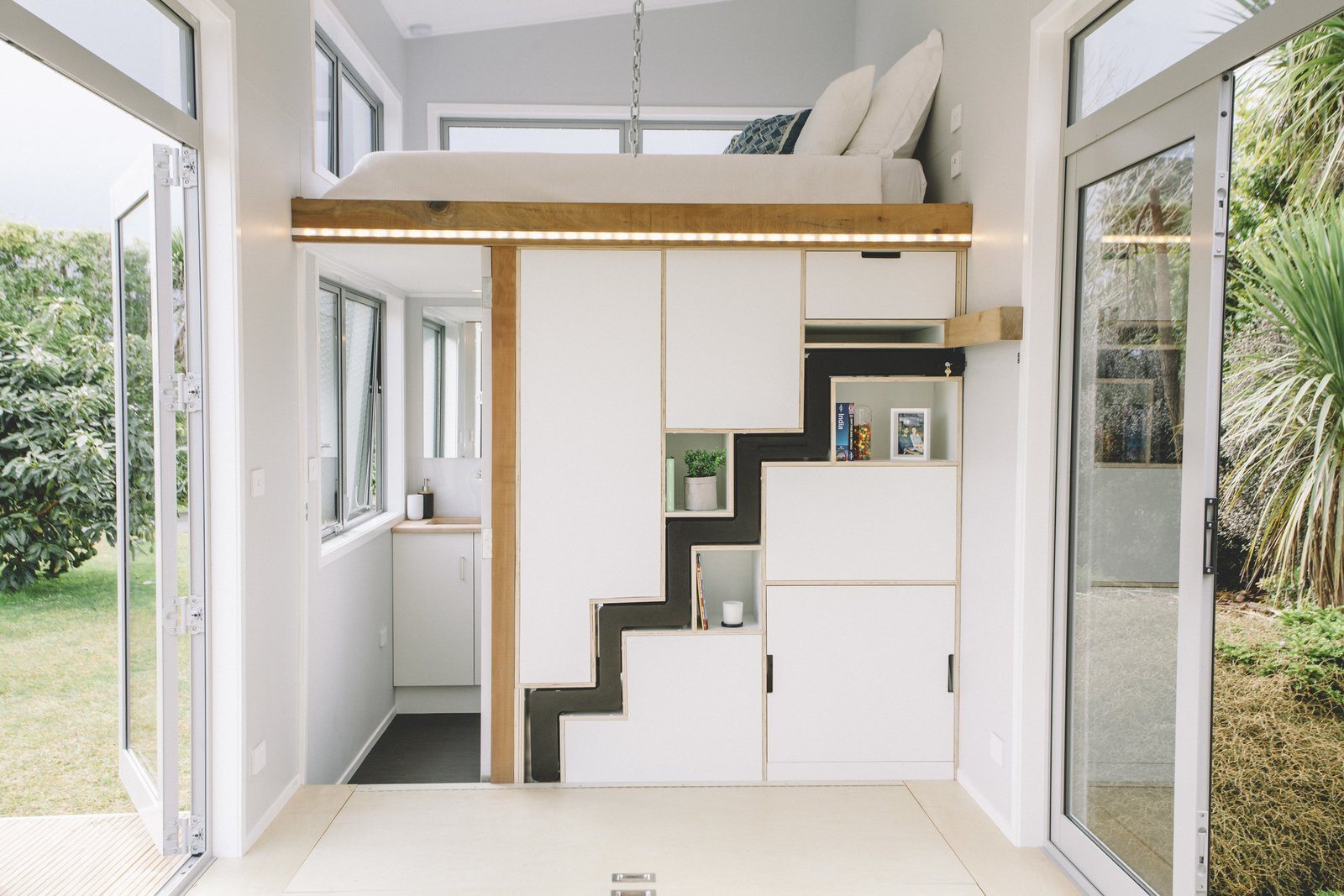 Millennial Tiny House interior staircase