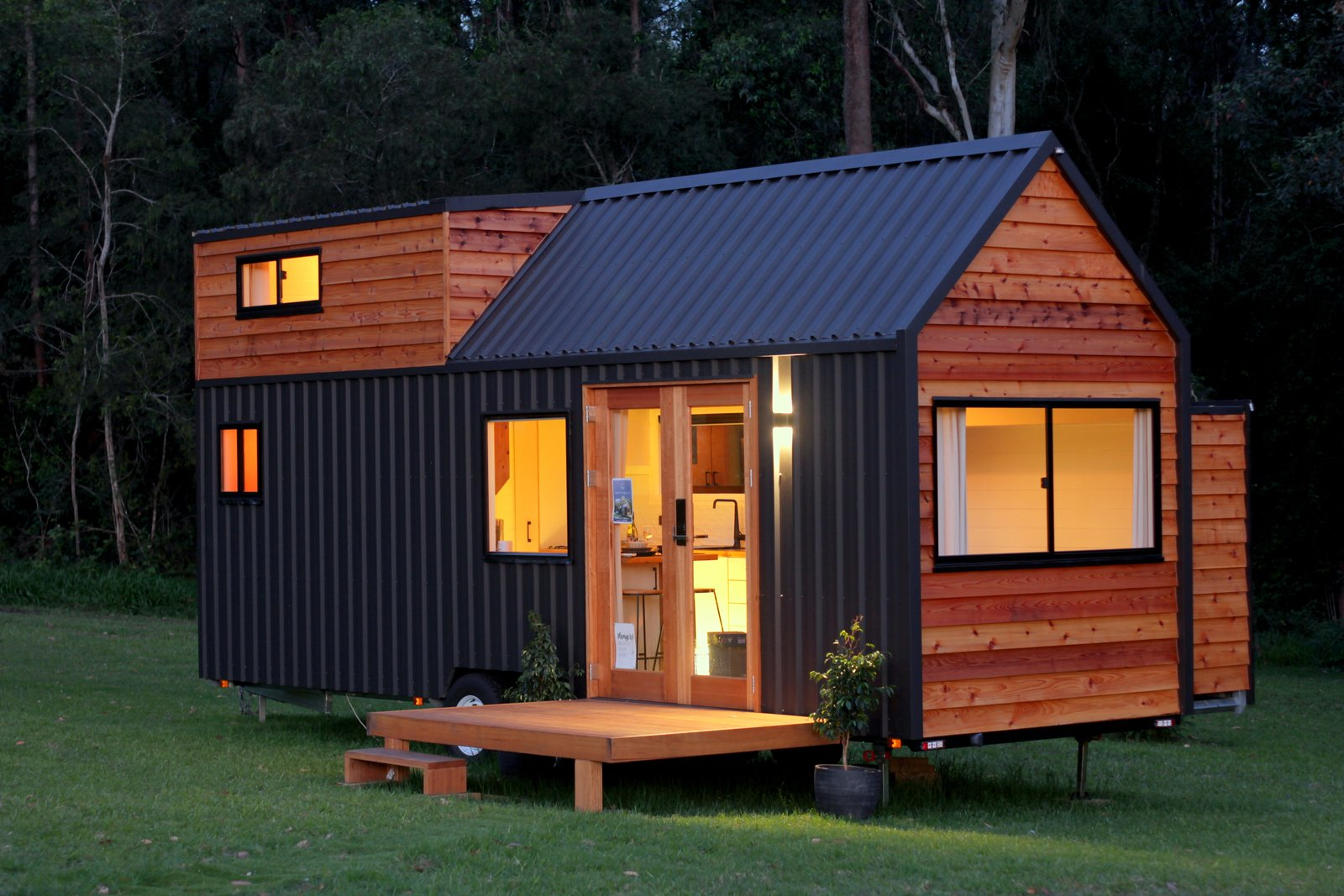 Sojourner tiny house exterior with slide-out