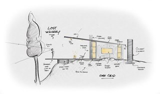 Sectional sketch of the Lost Whiskey Cabin.