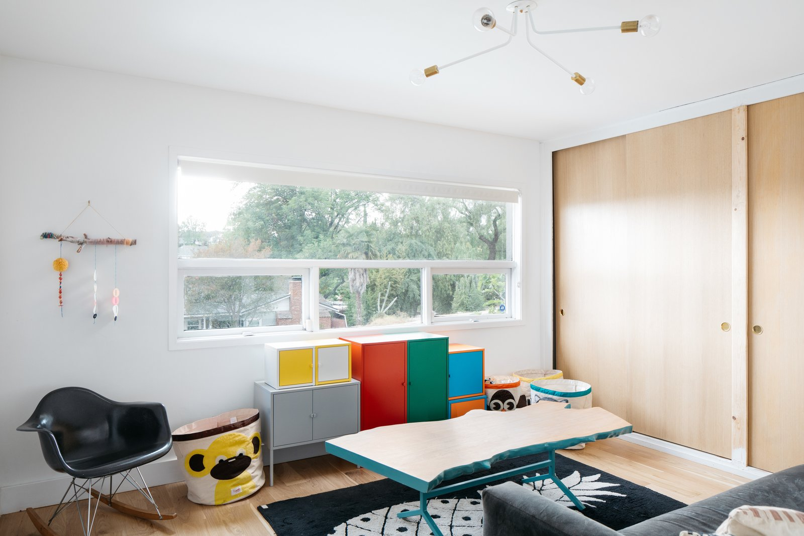 After: Monroe Workshop midcentury renovation playroom