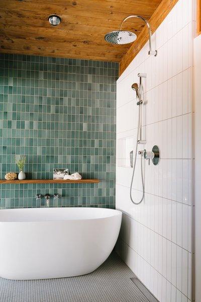 Heath Ceramics Heron Blue wall tiles.