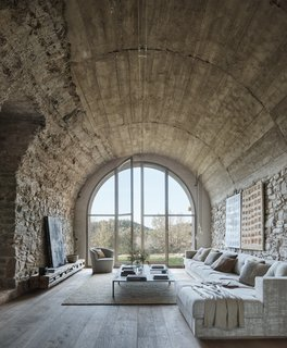 The 17th-century farmhouse is made entirely of natural stone.