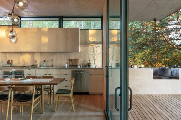 In the kitchen, a pass-through window extends the interior countertop into the concrete counter and built-in wood barbecue outdoors.