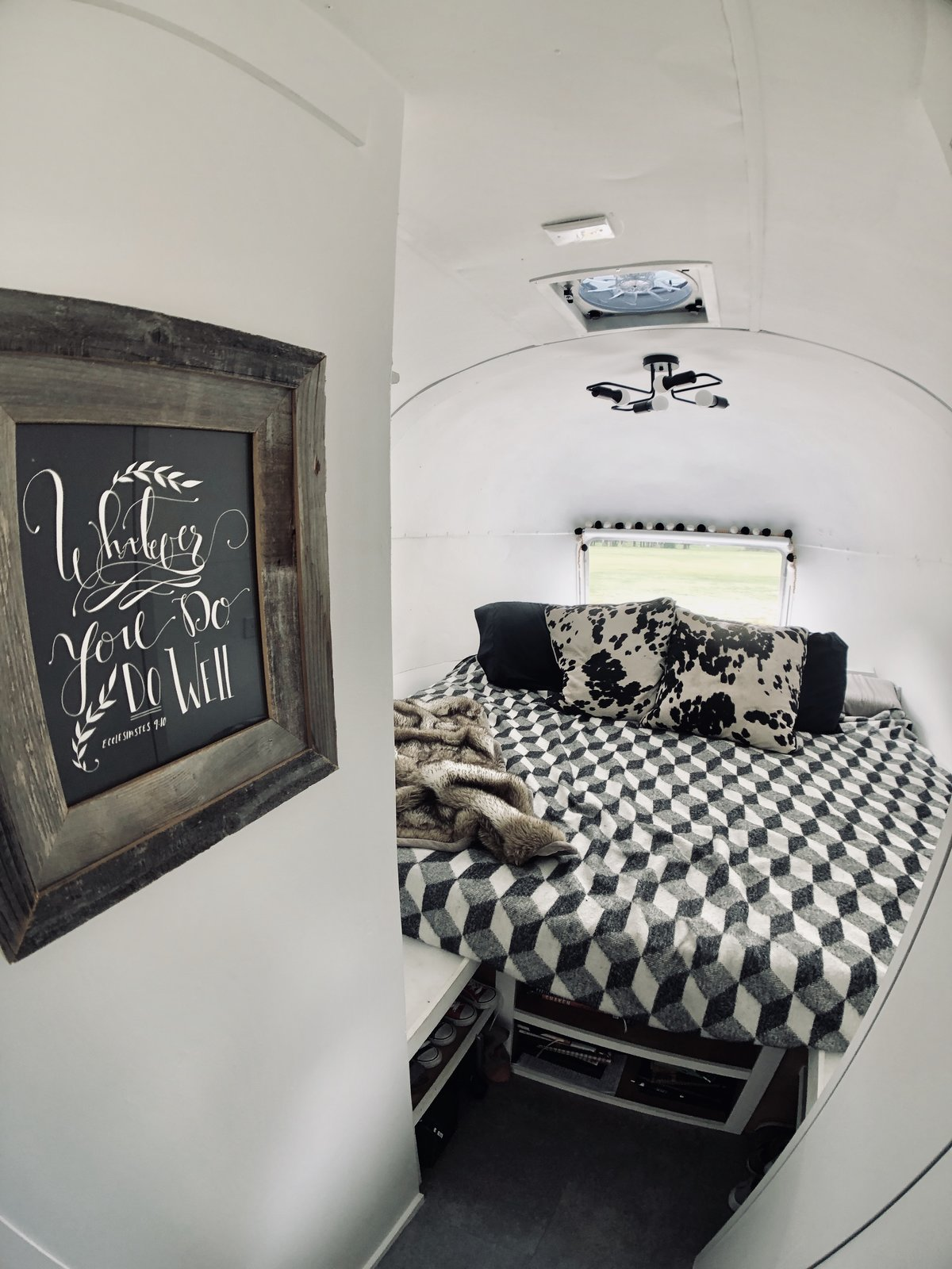 After: Renovated Airstream Sovereign bedroom