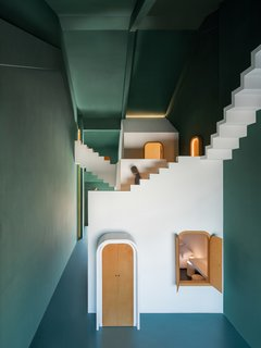 """""""The green walls of Maze make this room more mysterious, like the secret forest with hidden doors in fairy tales,"""" says Shi."""