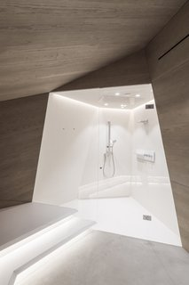 A corner shower stall.