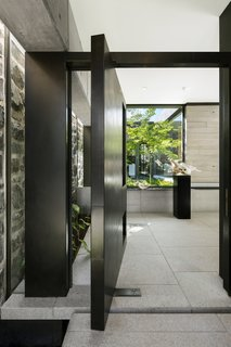 A swinging entrance door makes a bold first impression.