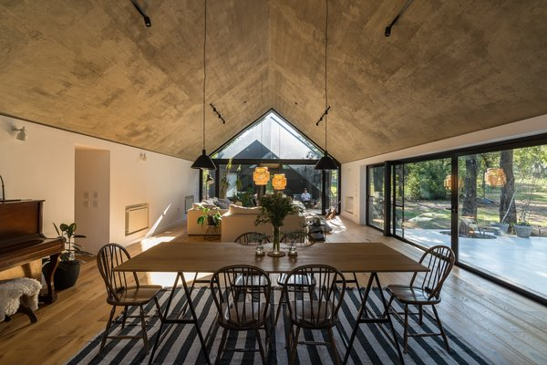 The home's ceilings are made from concrete.