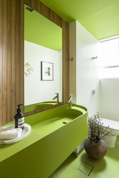 A green guest bathroom with a vanity designed by Pascali Semerjdian and wood panels by Plancus.