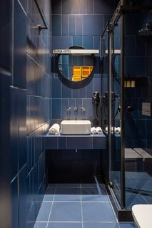 A blue bathroom.