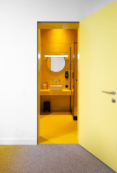 A bright yellow bathroom.
