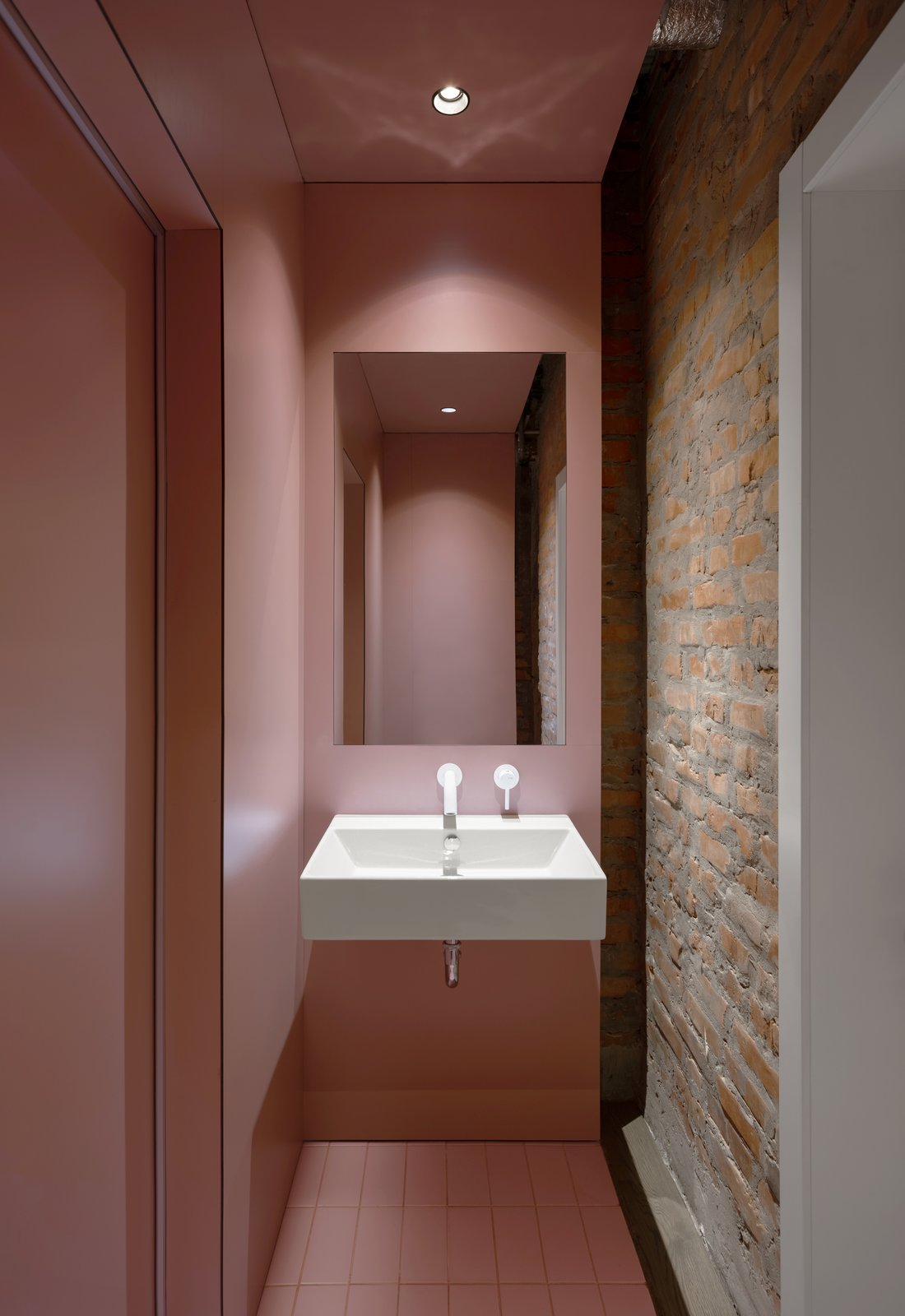 Bursa Hotel sink with millennial pink walls