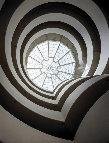 Solomon R. Guggenheim Museum, view of rotunda and skylight from ground floor.
