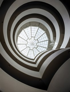 Solomon R. Guggenheim Museum, view of rotunda and skylight from ground floor.