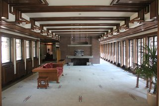 Frederick C. Robie House, View of main floor facing east.