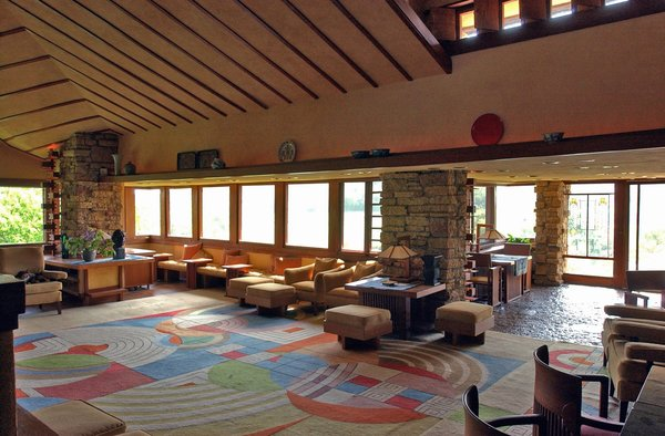 Taliesin, view to the northeast across living room.