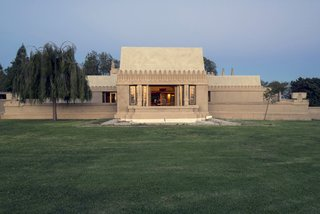Hollyhock House, view of west elevation.