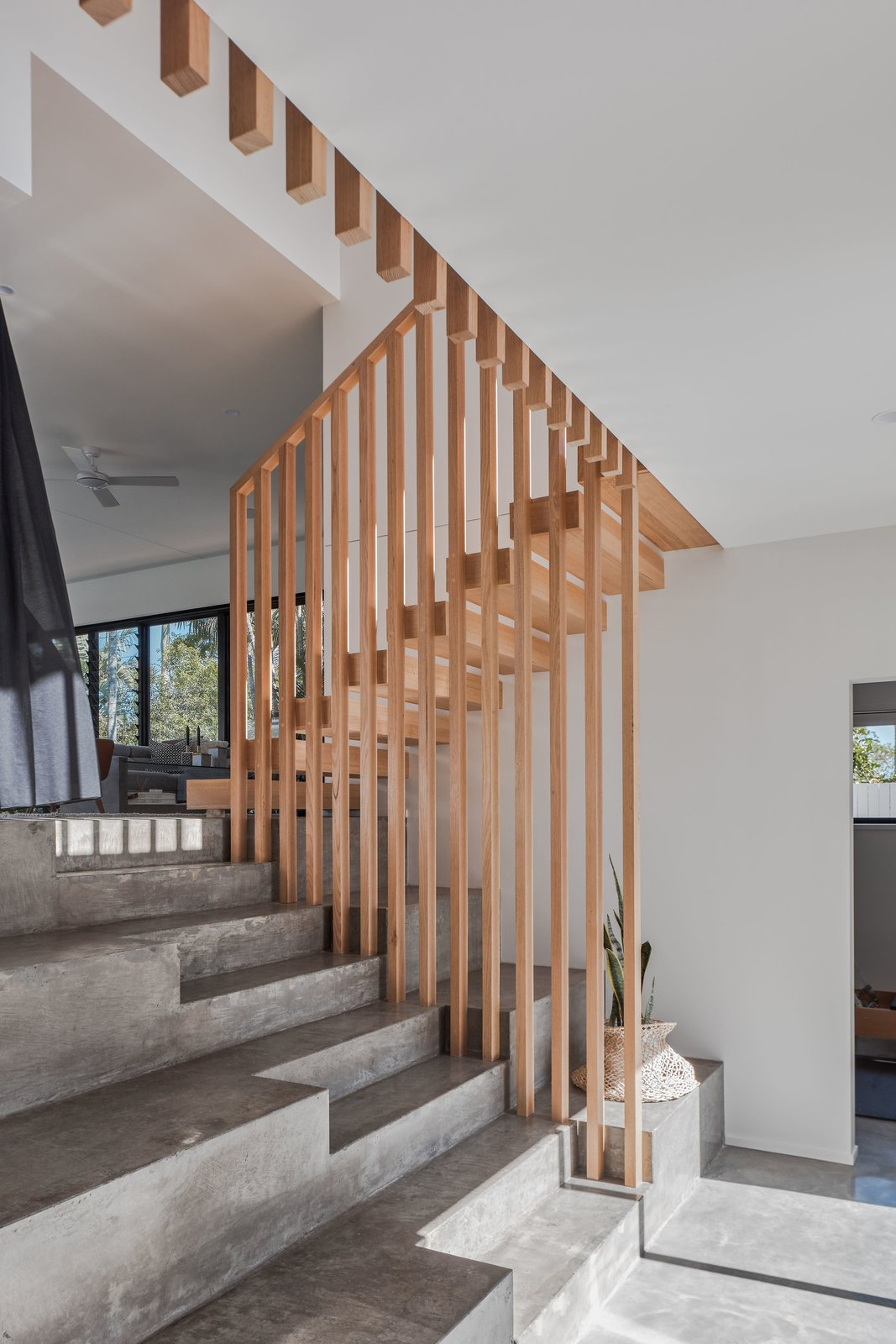 Bayview TCE concrete stairs and wood balustrade