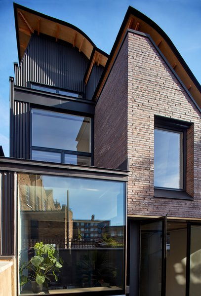 The back of Makers House features large amounts of glazing.